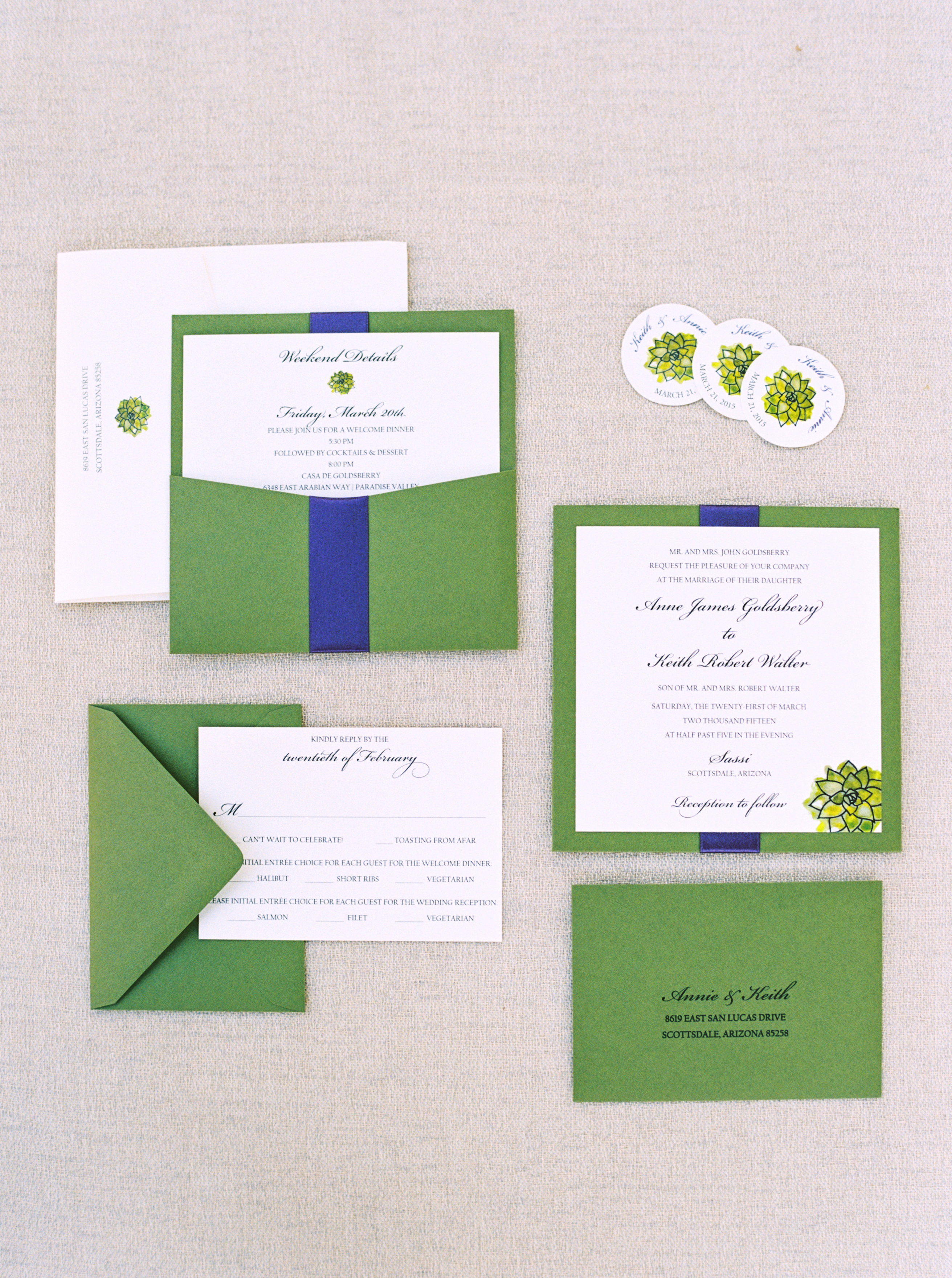 Green and Blue Wedding Invitations - Elizabeth Anne Designs: The ...