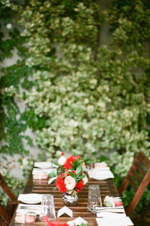 Green and Red Outdoor Wedding