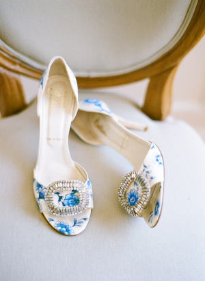 Hand Painted Blue Toile Shoes