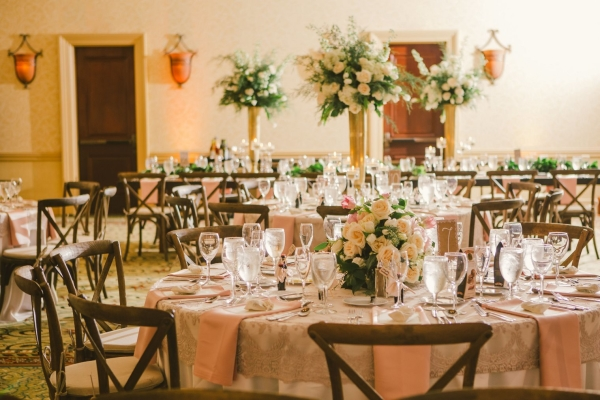 Ivory and Pink Wedding Reception