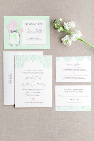 Mint and White Wedding Stationery
