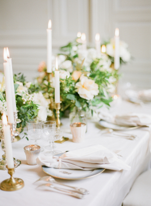 Neutral Centerpiece with Taper Candles
