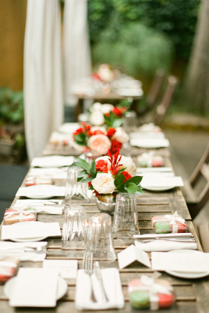 Pale Pink and Red Centerpiece
