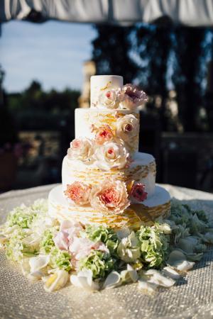 Peach and Pink Wedding Cake