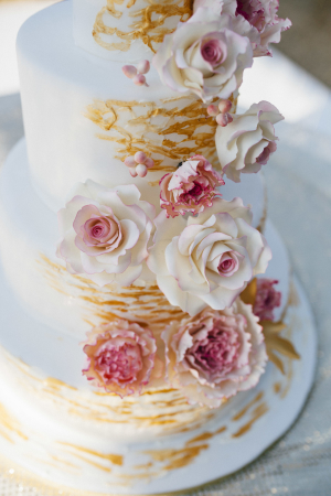 Pink and Peach Flowers on Wedding Cake