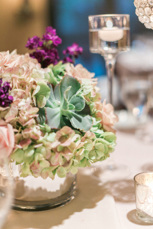 Purple and Green Centerpiece with Succulents