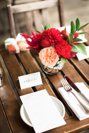 Red and Peach Wedding Flowers