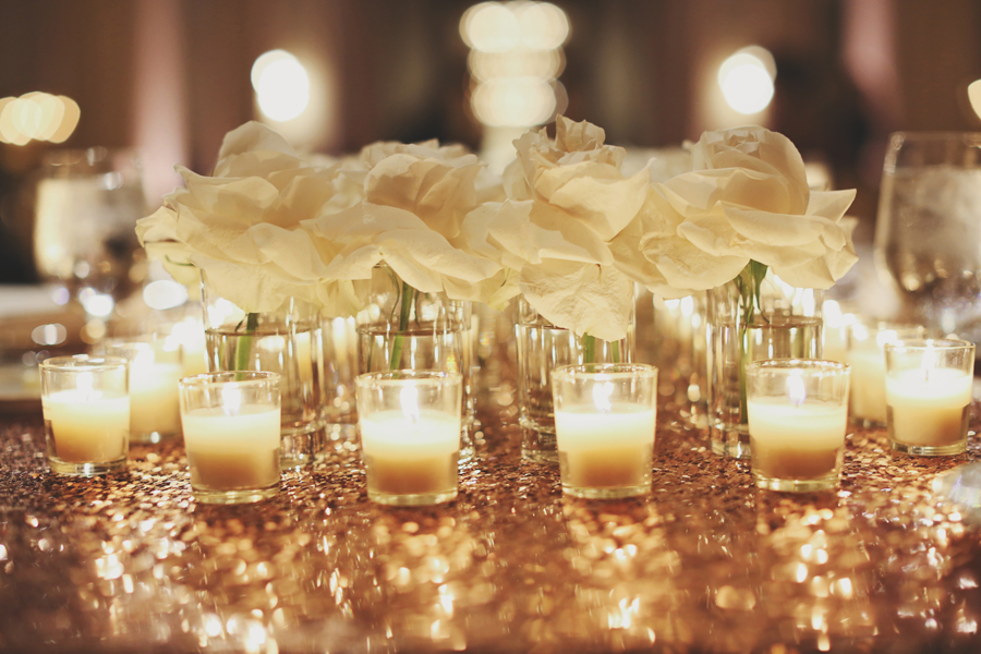 Rose and votive candle centerpiece elizabeth anne