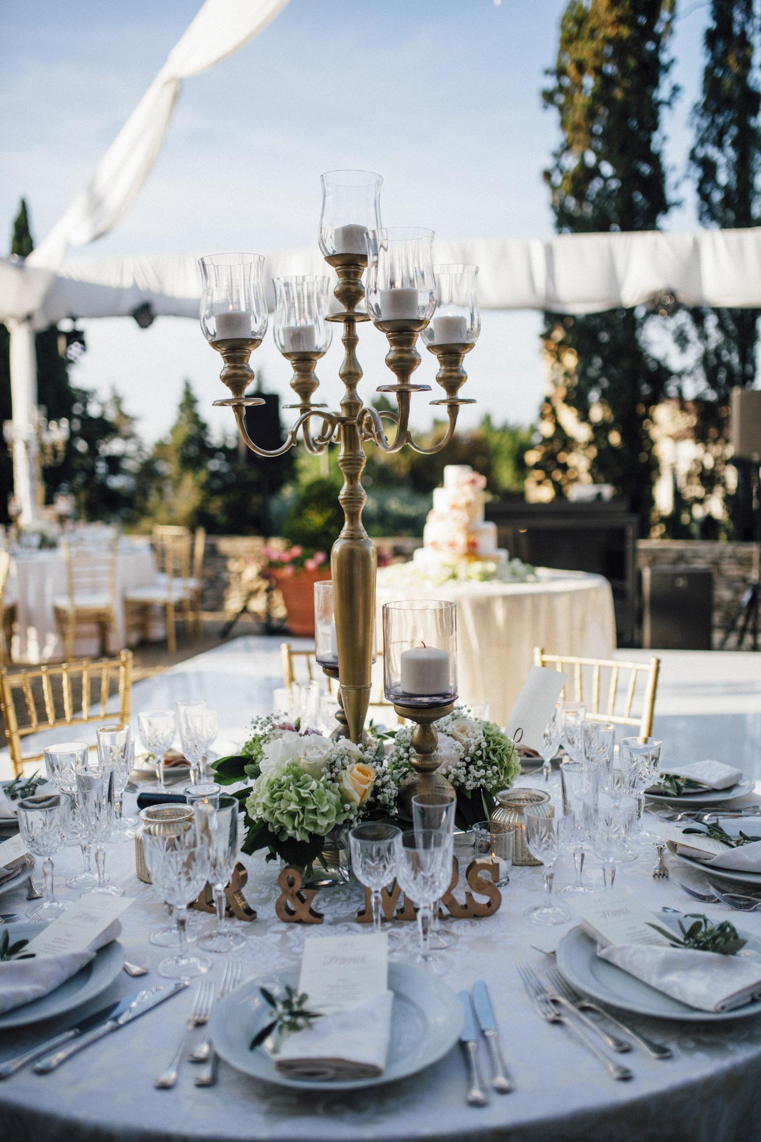 Tall Gold Candelabra Centerpiece - Elizabeth Anne Designs