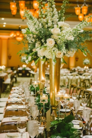 Tall Ivory and Green Centerpiece
