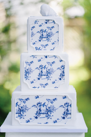 Toile Inspired Wedding Cake