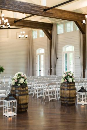 Wedding Ceremony Flowers on Wine Barrels