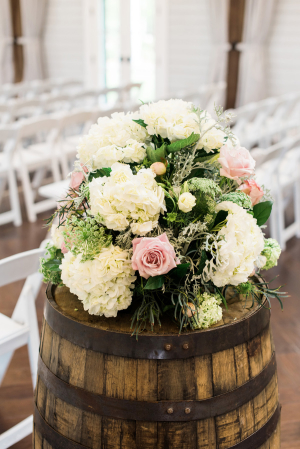 Wedding Flowers on Wine Barrels