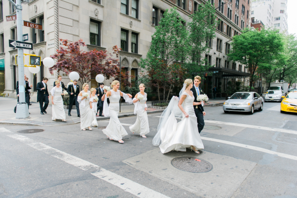 Wedding Party Walking NYC Street