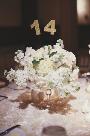 White Sweet Pea and Rose Centerpiece