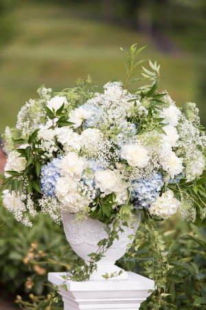 Blue and White Hydrangea Arrangement