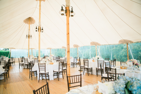 Blue and White Tent Wedding Reception