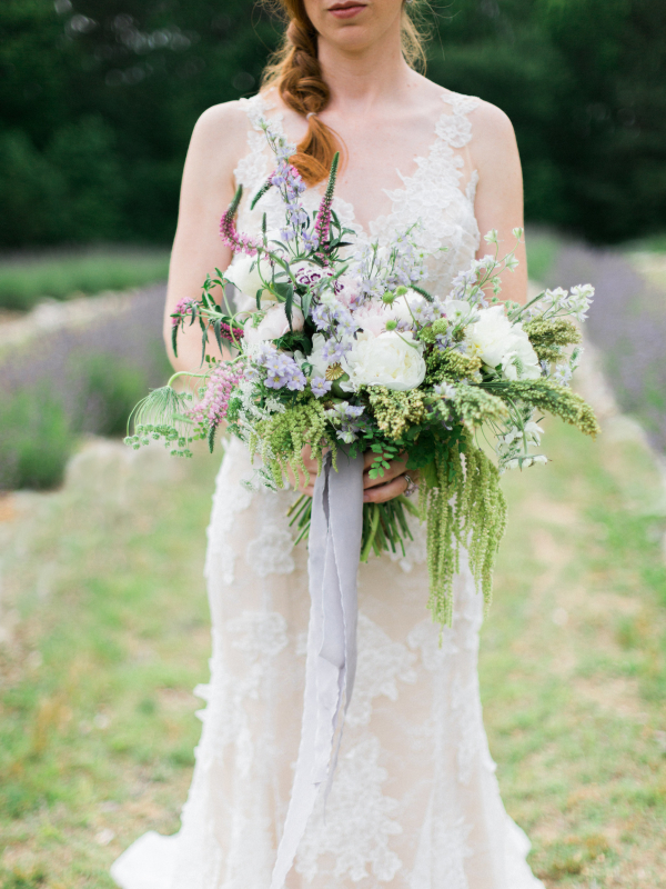 Bouquet with Trailing Lavender Ribbons