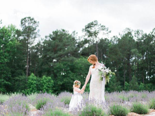 Bride and Flower Girl in Lavender Field
