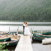 Bride and Groom by Boat Dock