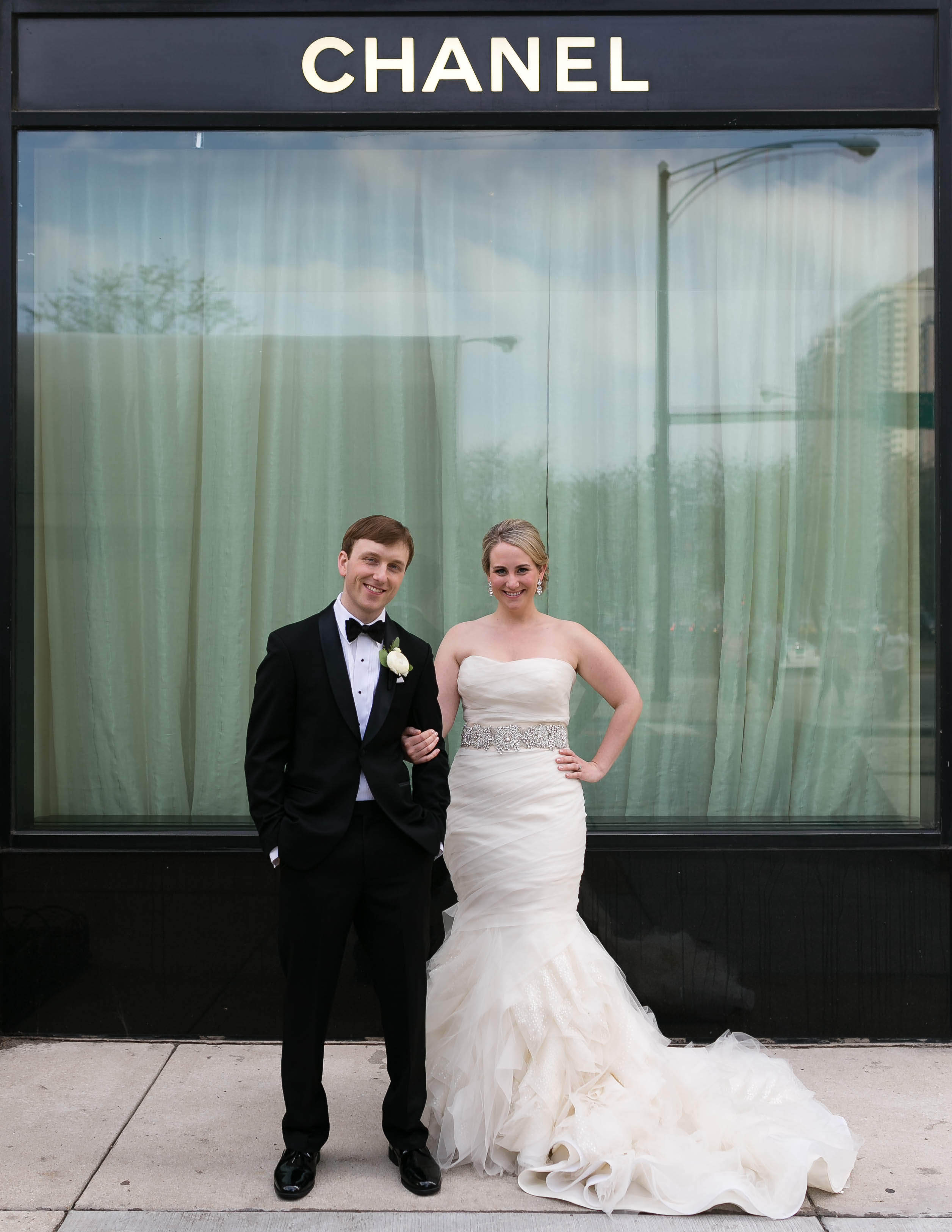 Bride and Groom in front of Chanel Store - Elizabeth Anne Designs ...