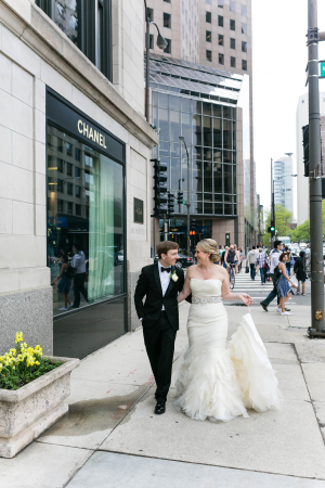 Bride and Groom on Michigan Ave