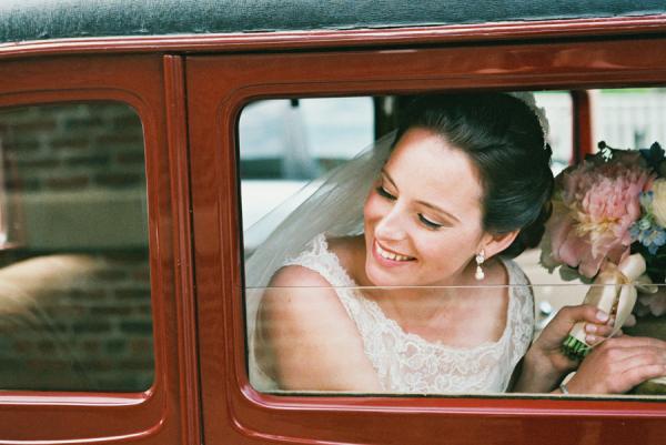 Bride in Vintage Car