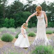 Bride with Flower Girl in Lavender Field