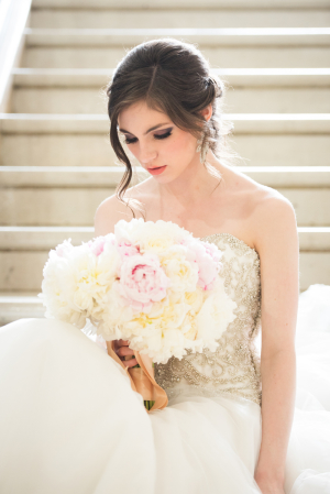 Bride with Ivory Peony Bouquet