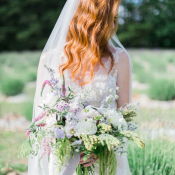 Bride with Lavender Bouquet