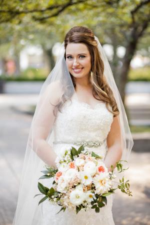 Bride with Pale Peach Bouquet
