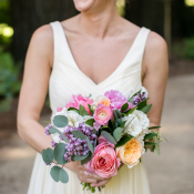 Bridesmaid in White with Colorful Bouquet
