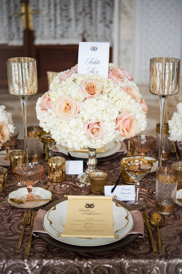 Centerpiece of Peach and Ivory Flowers