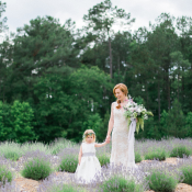 Flower Girl and Bride in Lavender Field