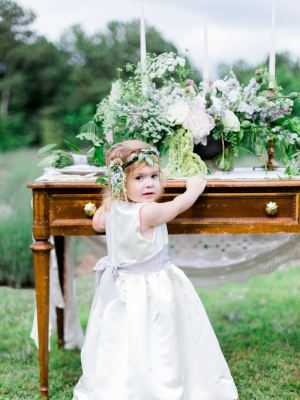 Flower Girl with Lavender Sash