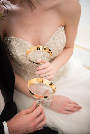 Gold Rim Champagne Glasses