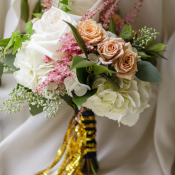 Gold Sequin Ribbon on Bouquet
