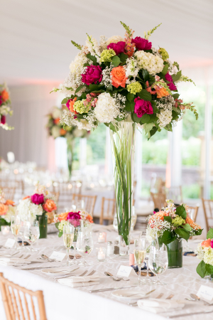 Hot Pink and Orange Centerpiece