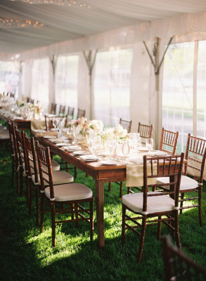 Ivory and Wood Wedding Table