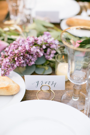 Lavender Centerpiece and Groom Place Card