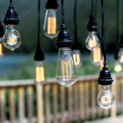 Light Bulb Installation Above Wedding Table