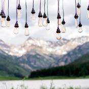 Light Bulb Installation Over Wedding Table