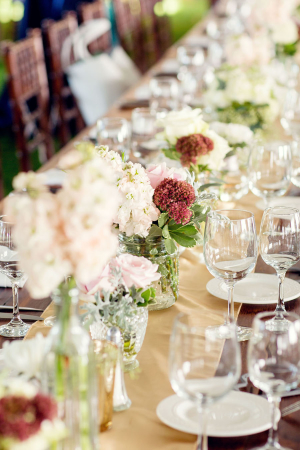 Long Wedding Table with Pink Centerpiece