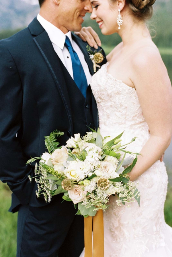 Marigold Ribbon on Bouquet