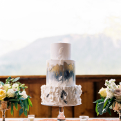 Modern Gray and Gold Wedding Cake