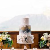 Modern Gray and Gold Wedding Cake