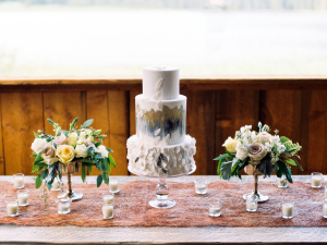Modern Wedding Cake with Feathers
