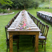 Outdoor Wedding with Wood Tables