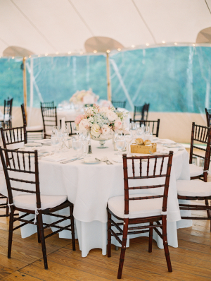 Pale Blue and Pink Centerpiece