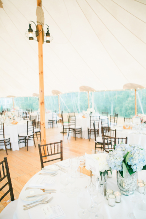 Pale Wood and Blue Wedding Reception